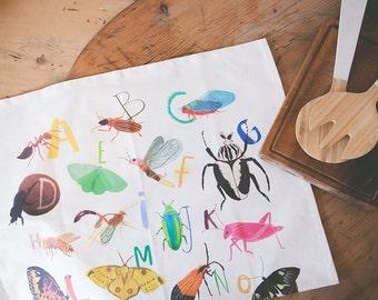 Insectabet Tea Towel - Bugs Butterflies A-Z Teatowel