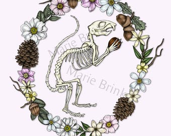 Squirrel Skeleton and Wreath Print