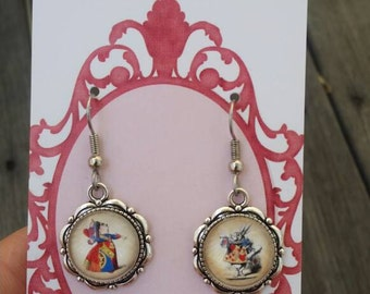 Vintage Alice in Wonderland - Queen of Hearts and White Rabbit dangle earrings
