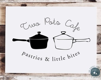 Hand Drawn Premade Logo Design - Customizable - Two Pots - Cooking - Blog Header - Simple Drawing - Oval - Emblem - Rustic - Natural