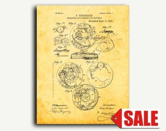 Patent Art - Repeating Attachment For Watches Patent Wall Art Print