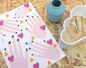 A4 pink or blue modern digital illustration of hands wall art nursery home decor