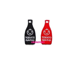 Set 2pcs. Tomato Ketchup Black & Red Bottle Smiley Face Cute New Sew / Iron On Patch Embroidered Applique Size 1.8cm.x4cm.
