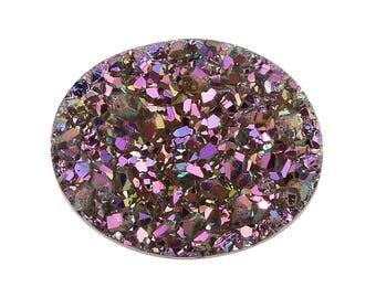 Pink Dawn Drusy Loose Gemstone Oval Cabochon 1A Quality 10x8mm 1.75 cts.