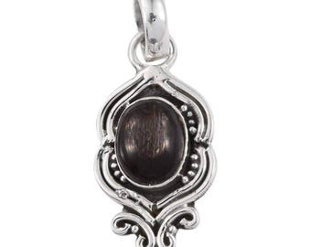 Black Feldspar 10x8mm Oval Cabochon 1A Quality Sterling Silver Pendant without Chain TGW 2.50 cts.