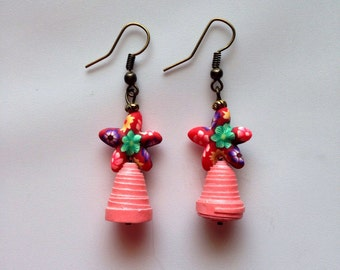 Paper beads with a Star fish fimo bead Earrings. #1717