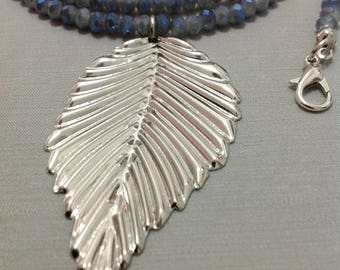 Blue Gray Metallic Crystal beads Necklace with a Leaf Pendant, Handmade Necklace, Handcrafted Jewelry
