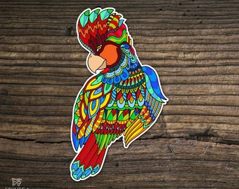 Vinyl parrot sticker, zentangle doodle sticker, decal laptop sticker, art sticker, phone sticker, Ipad sticker, car sticker