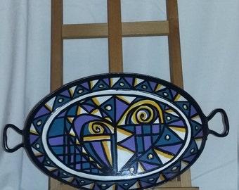 Liz Ellard 'Queen of Hearts' hand painted shallow bowl.
