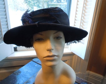 Amazing Museum Quality Mohair Velvet and Feathers Edwardian Hat (Museum Quality) (All Original)