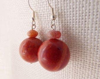 Red Ball Drop Earrings