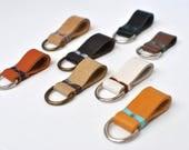 Leather keychain loop, mini key fob, leather keyholder, minimalist loop keyholder, personalized keychain