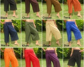 Capri Fisherman Pants Wrap Yoga Pants Short Thai Fisherman Pant Hippie Thai Pants Capri Burning Man Pantaloni Tai * Free Shipping * CF-Rayon