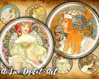 Digital download cabochon 1.5 inch, 1 inch circle, Alphonse Mucha digital collage sheets, instant download, art nouveau printable images