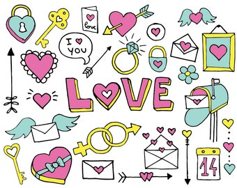 Valentines Doodle - Clipart & Vector Set - Instant Download - Personal and Commercial Use - Love