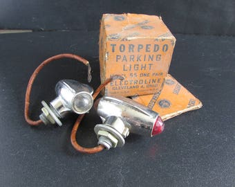 Indian Harley Electroline Torpedo Parking Lights Model 55 in the box
