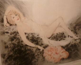 French Art Deco polychrome litho crayon drawing etching semi nude by MEUNIER circa 1934 - LOUIS ICART