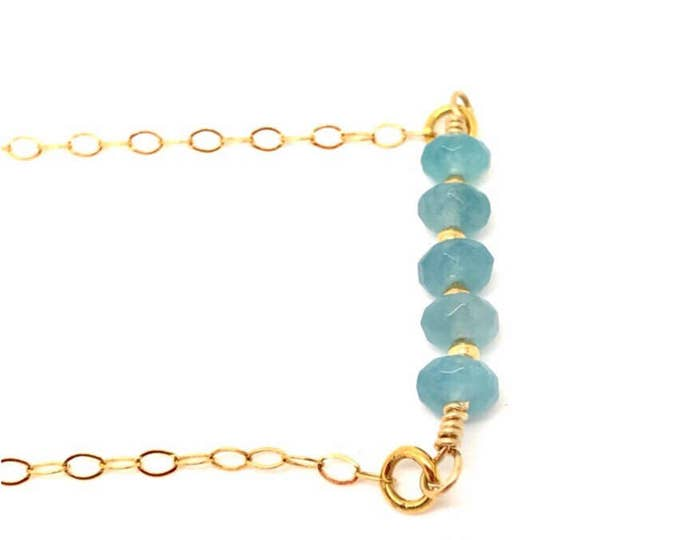 Aquamarine Necklace, Aquamarine Gold Necklace, Aquamarine Bar Necklace, Aquamarine Pendent, Aquamarine Jewelry Raw aquamarine