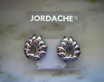 Vintage Jordache Silver Tone Clip On Earrings.