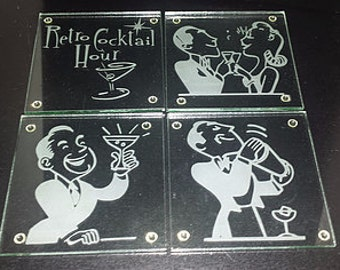 "Etched ""Retro"" Glass Coasters"