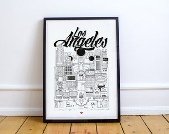 Los Angeles - series illustration * Travel With Me * | Black and white | 21 x 29.7 cm