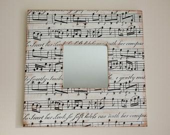 Decoupaged wall mirror, Music style mirror, Square mirror with music notes, Decorative wall mirror