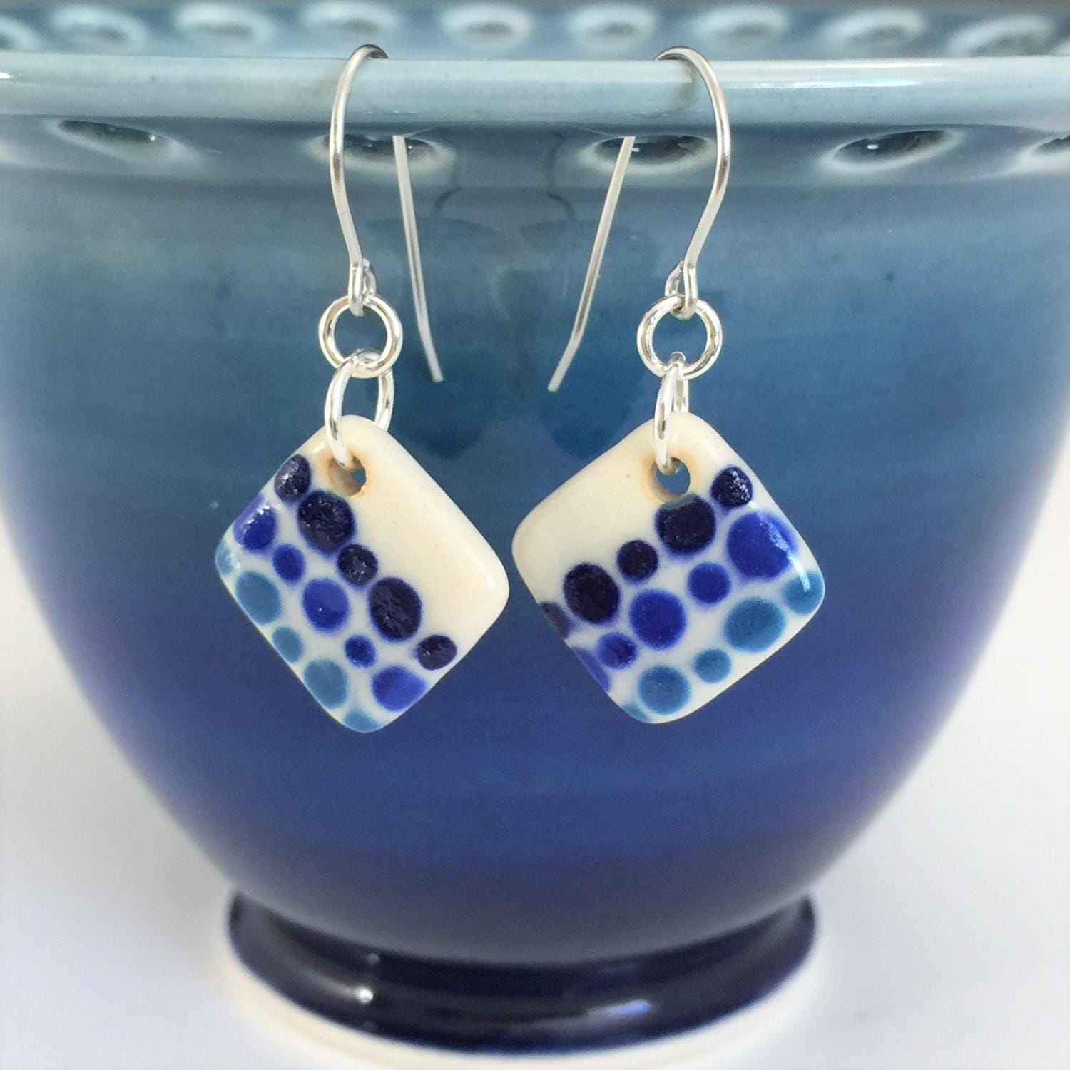 Small Blue Earrings: Small Drop Earrings Blue Earrings Handmade Ceramic Earrings