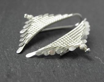 Tybie earrings in solid silver weave for women
