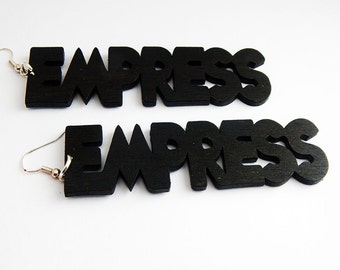 Empress Earrings Statement Natural Hair Earrings Wooden Afrocentric Hip Hop Natural HairJewelry Empress Black large African American