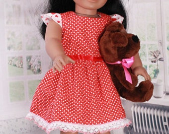 American Girl Doll, Valentine's Day Dress, Vintage Fabric