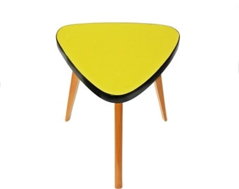 60s small yellow table flower stand coffee table