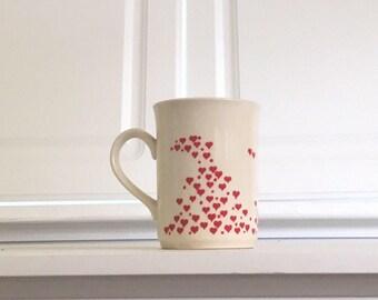 Vintage Hearts Mug, Valentine's Mug