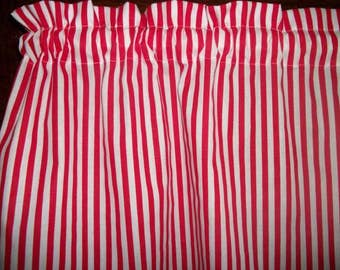 Red White Striped Stripes Stripe nautical fabric window topper curtain Valance