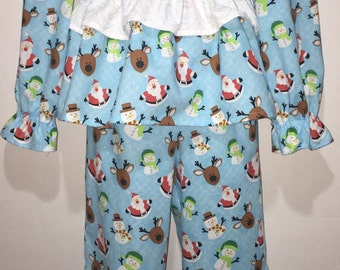 Size 5 RTS Girls Christmas Pajamas Long Sleeved Santa Claus Snowman Reindeer Boutique Slumber Birthday Party Cotton Pajamas Ruffle Pant Set
