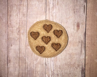 Set of 4 Heart Chocolate Chip Cookie Feltie Felt Embellishment Bow! Applique Embroidery Love Valentine Accent Fealtie Felties Planner Clip