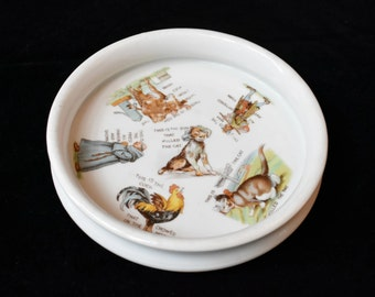 Antique Vintage Porcelain Child's Bowl Nursery Rhyme This Is The House That Jack Built Three Crowns China Germany 1910