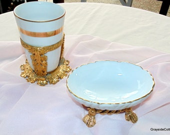 Gold Plated Stylebuilt Vintage Vanity Bathroom Set Ceramic Soap Dish with Cup & Stand Hollywood Regency Bath Vanities