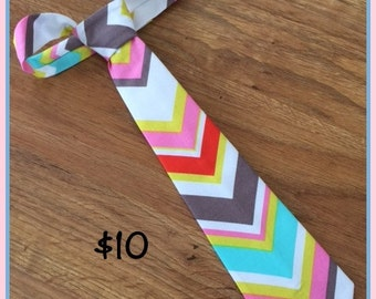 Little Boys Handmade Necktie / Spring Colors Chevron Tie