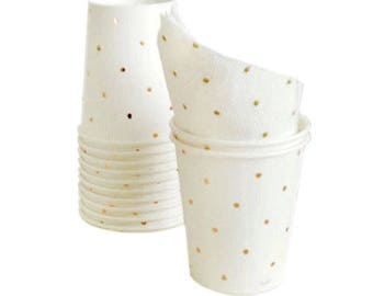 SMALL CUPS 200ml / GOLD Polka Dot / Pk 12 / Disposable Paper Tableware / Birthday Party Decorations and Supplies / Wedding / Anniversary