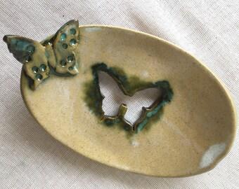 Soap Dish   UK Studio Pottery   Ceramic Soap Dish  Butterfly Soap Dish  Green