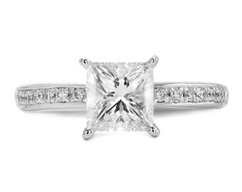 3.18 Carat Radiant Cut E/VS1 Diamond Engagement Ring 14K White Solid Gold  #J72449  FREE SHIPPING
