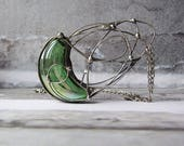 Green Glass Large Statement Tiffany Pendant Necklace Rustic Boho Necklace Gift for Her Hanfmade Metalsmith Pendant Metal Jewelry