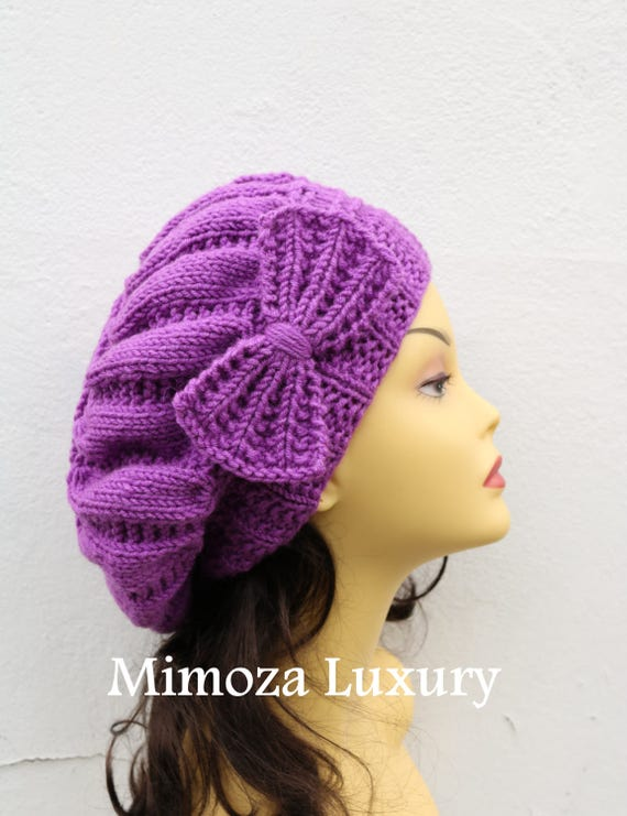 Lilac Woman Hand Knitted Hat with Bow, Lilac Beret hat with bow, Lilac knit hat, purple slouchy knit women's hat with bow, lilac winter hat