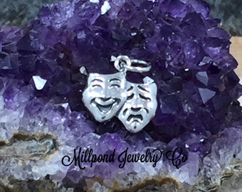 Theater Mask Charm, Comedy and Tragedy Charm, Acting Charm, Actor Charm, Actress Charm, Play Charm, Musical Charm, Sterling Silver, PS01636