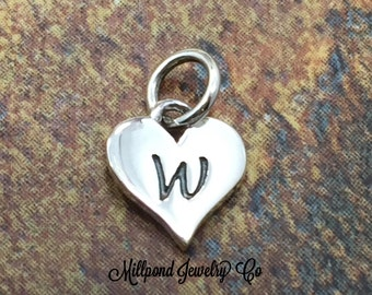 Initial Charm, Letter Charm, W Charm, Letter W Charm, Heart Letter Charm, Alphabet Charm, Sterling Silver Charm