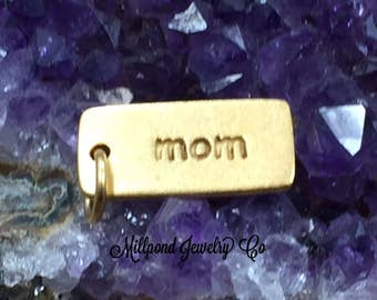 Mom Charm, Mom Pendant, Gold Plated Sterling Silver Mom Charm, Gold Charms, Mom Tag Charm, Mom Tag