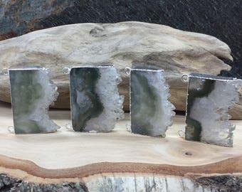 Amethyst Slice, Amethyst Connector, Amethyst Slice Pendant, Amethyst Druzy Pendant, Drusy Pendant, Silver Plated, PS0916X