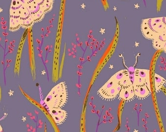 Sleeping Porch Cotton Lawn, Fabric by the yard, Heather Ross Fabric, Windham Fabrics, Purple Grey Moth Fabric, Insect Fabric, 42210-14