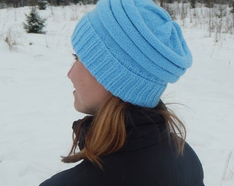 Knitting blue hat, knit hat, hand knit hat women, knit hat woman, knitted hat, knitted accessories, womens hat, cute hat.