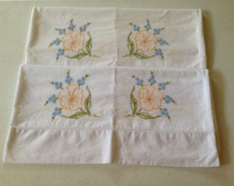 Beautiful Vintage Embroidered Standard Pillow Cases with Yellow flowers.